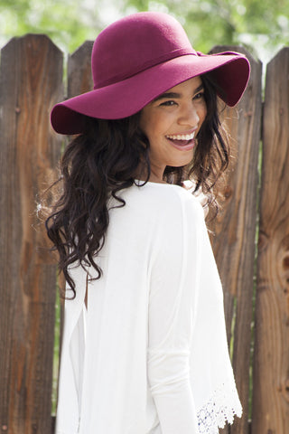 Floppy Sun Hat-Burgundy