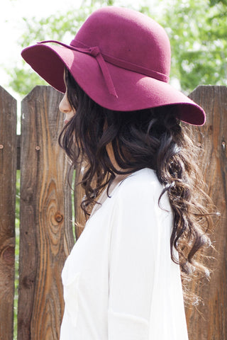 Floppy Sun Hat-Burgundy Second