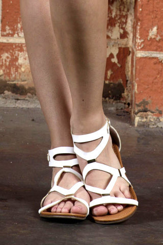 Soft White Leather Flat Sandals with Gold Buckles