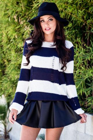 Distressed Stripe Sweater - Navy