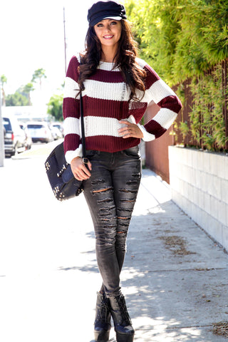 Distressed Stripe Sweater - Burgundy Second