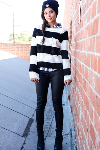 Distressed Striped Sweater - Black Second