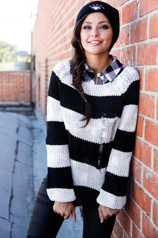 Distressed Striped Sweater - Black