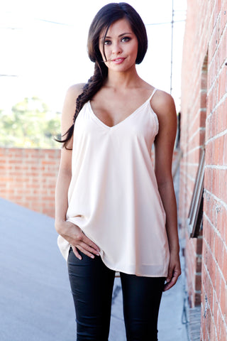 Lace Adjustable Strappy Slip-on Top with Pockets