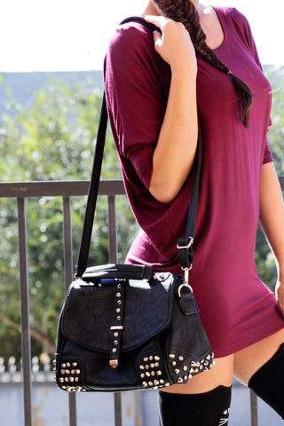 Faux Leather Studded City Bag