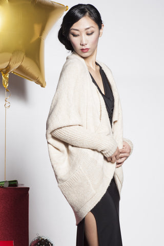 Super Soft & Warm Layered Front Knit Cardigan - Ivory