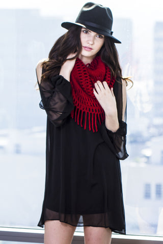 Infinity Fringe Knit Scarf-Red Second