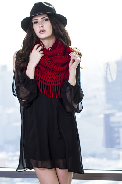 Infinity Fringe Knit Scarf-Red