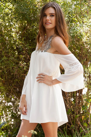 Shake it Off Chiffon Flutter Sleeve Off Shoulder Dress - White Second