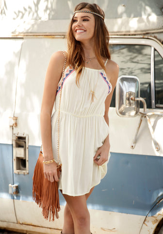 Summer Lovin' Tribal Embroidered Flare Dress - Banana Second