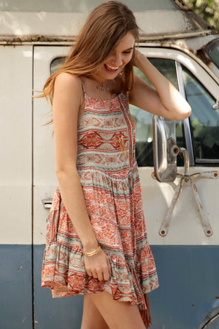 Bohemian Sunset Printed Babydoll Dress Second