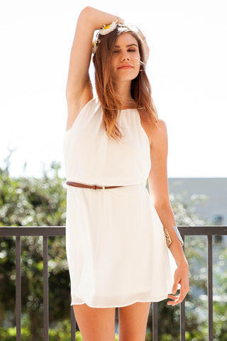 Midsummer's Day Haltered Dress with Belt - White Second