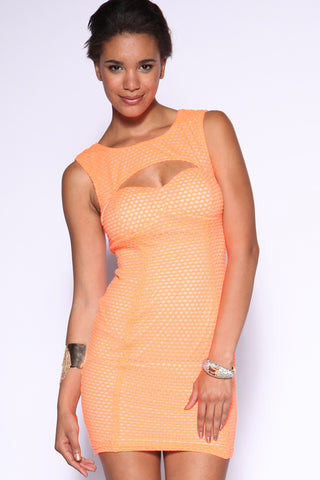 Awesome Neon Orange Mesh Dress
