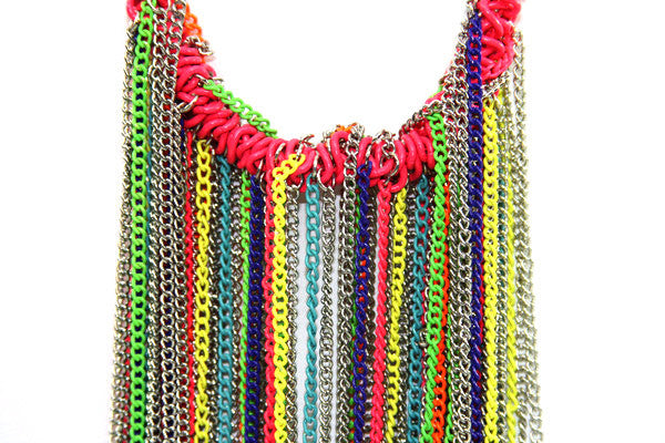 Rainbow Chain Link Necklace + Earrings