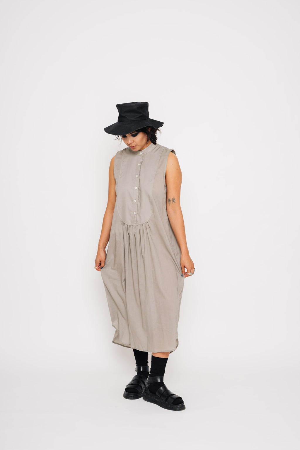 Sleeveless Bibbed Shirt Dress | Cotton | Fawn