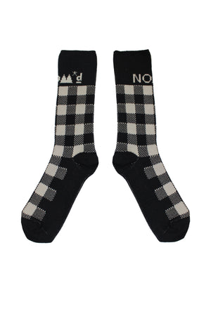 Gingham Socks | Black Putty
