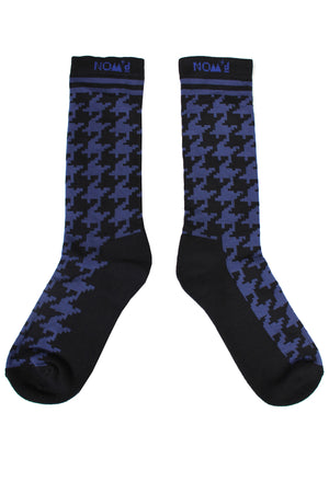 Houndstooth Socks | Cotton | Black / Blue