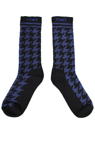 Houndstooth Socks | Black / Blue