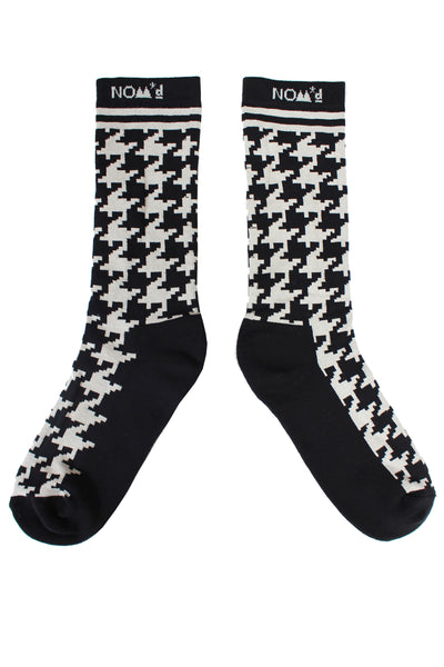 Houndstooth Socks | Black / Putty