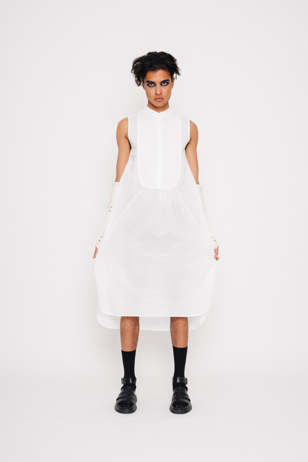 Sleeveless Bibbed Shirt Dress | Cotton | White