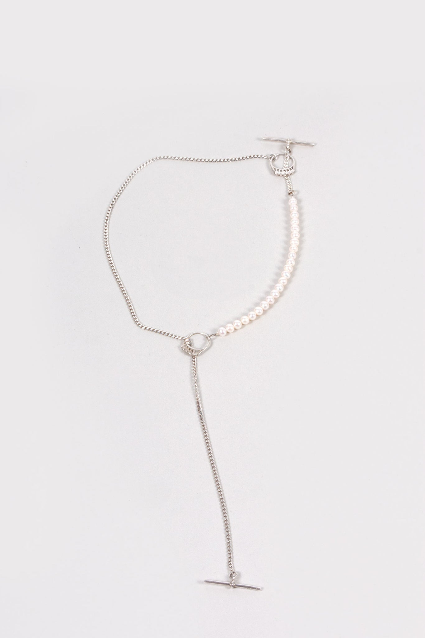 Diamonds and Pearls Necklace | Sterling Silver + White Pearls