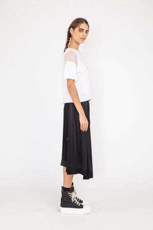 Draw Skirt | Satin Viscose | Black