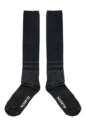 Two Stripe Tall Socks | Black Lurex