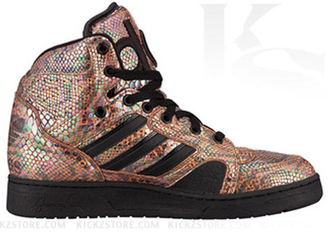 free shipping 1f6ad 4d7a0 Showered in a flashy snakeskin rainbow made from premium Italian leather,  this is definitely Jeremy Scott s most hi-def and luxe Instinct to date.