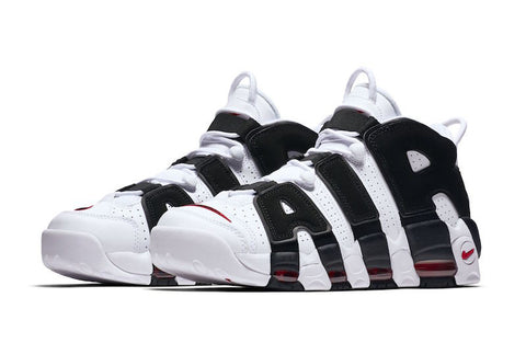 ... this player exclusive nike air more uptempo features a white leather  upper with black on the