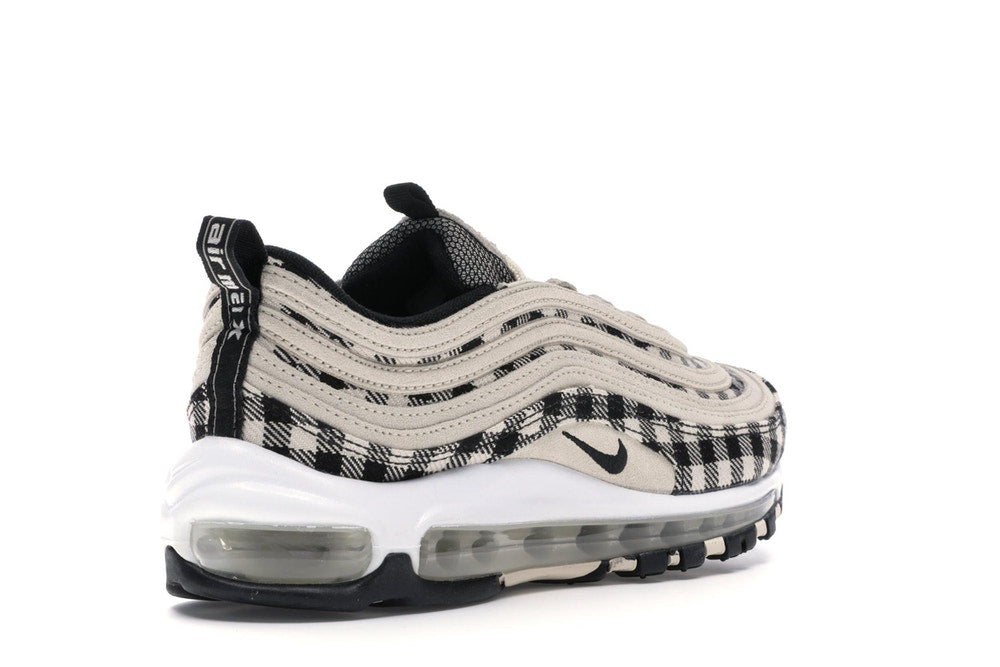 Nike Men's Air Max 97 Premium Flannel Plaid Print Light Cream Black