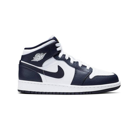 Air Jordan Men's 1 I Mid Retro White Metallic Gold Obsidian