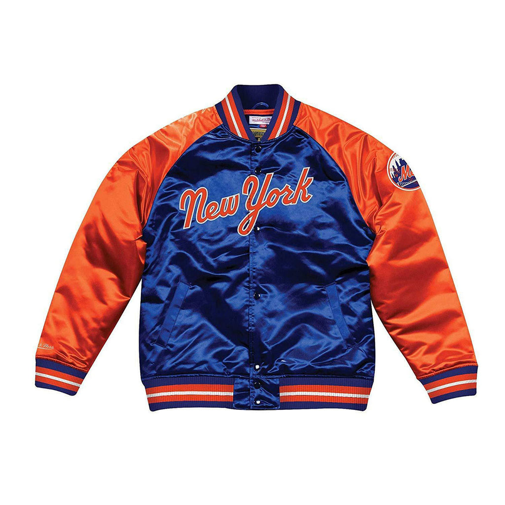 Mitchell & Ness Copperstown Collection Satin New York Mets Jacket Blue Orange - KickzStore