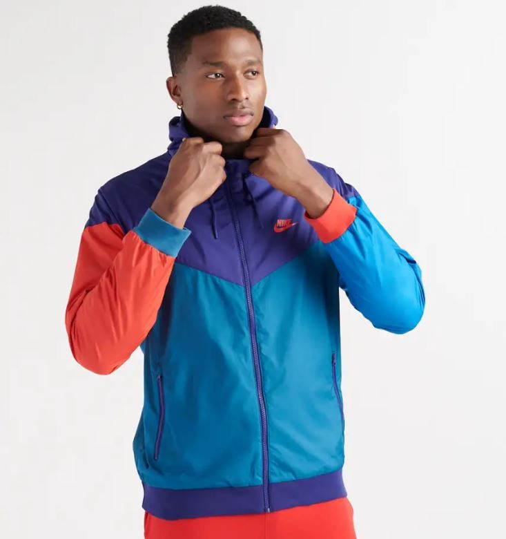 Nike Men's NSW Sportswear Hooded Windrunner Windbreaker Jacket Purple Blue Red