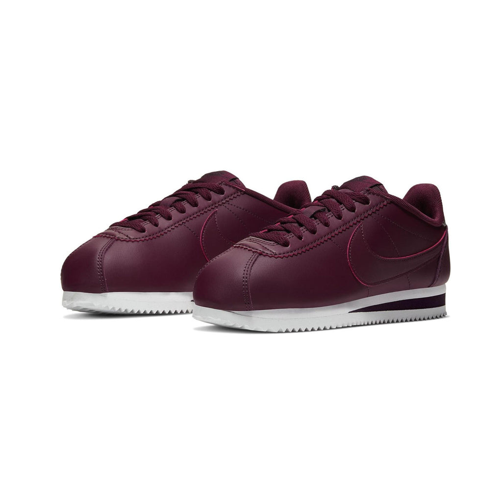 Nike Women's Classic Cortez Leather Night Maroon White - KickzStore