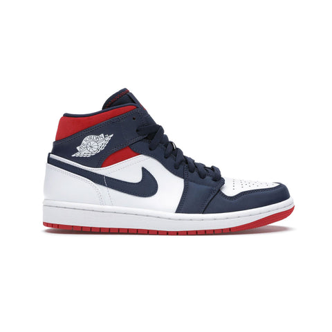 Air Jordan Men's 1 Mid SE USA White Navy Red