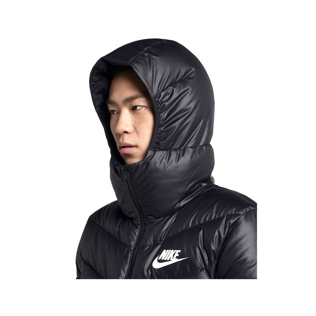 Nike Men's Sportswear Wind Runner Down Fill Puffer Coat Black White - KickzStore
