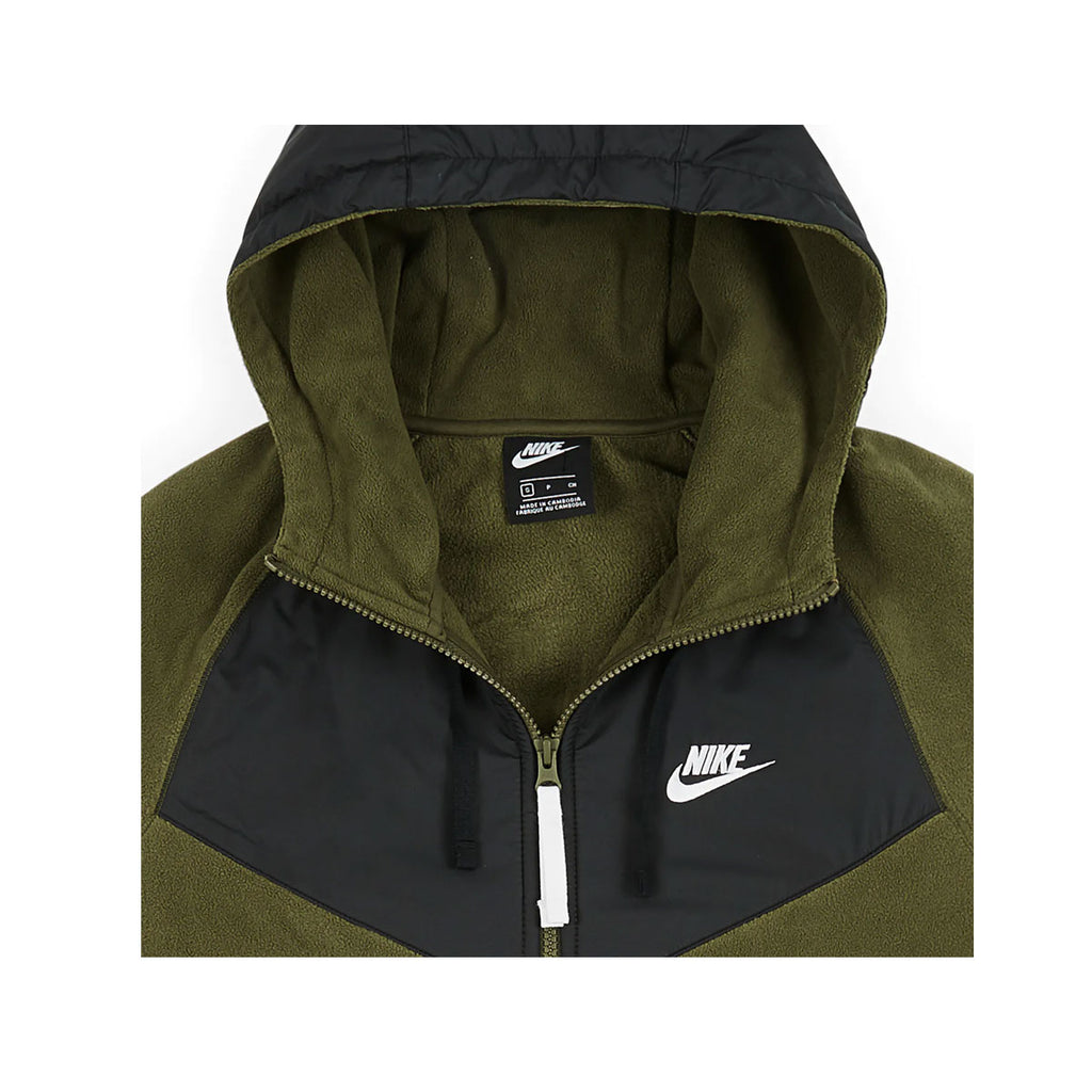 Nike Men's NSW Full Zip Polar Fleece Hoodie Olive Green