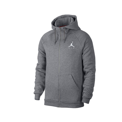 Air Jordan Men's Sportswear Full Zip Jumpman Fleece Hoodie Gray White