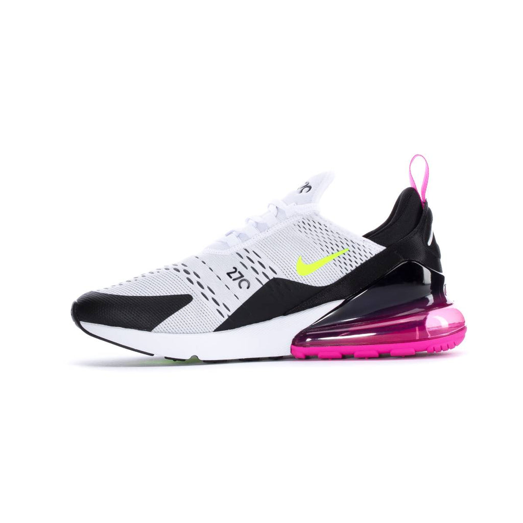 Nike Men's Air Max 270 White Black Fuchsia Volt Running Shoes