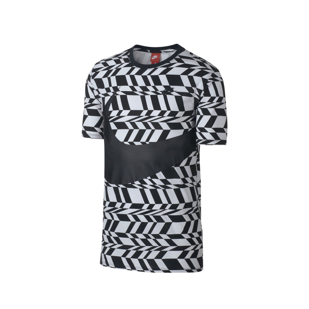 Nike Men's AOP Swoosh White Black T-Shirt - KickzStore