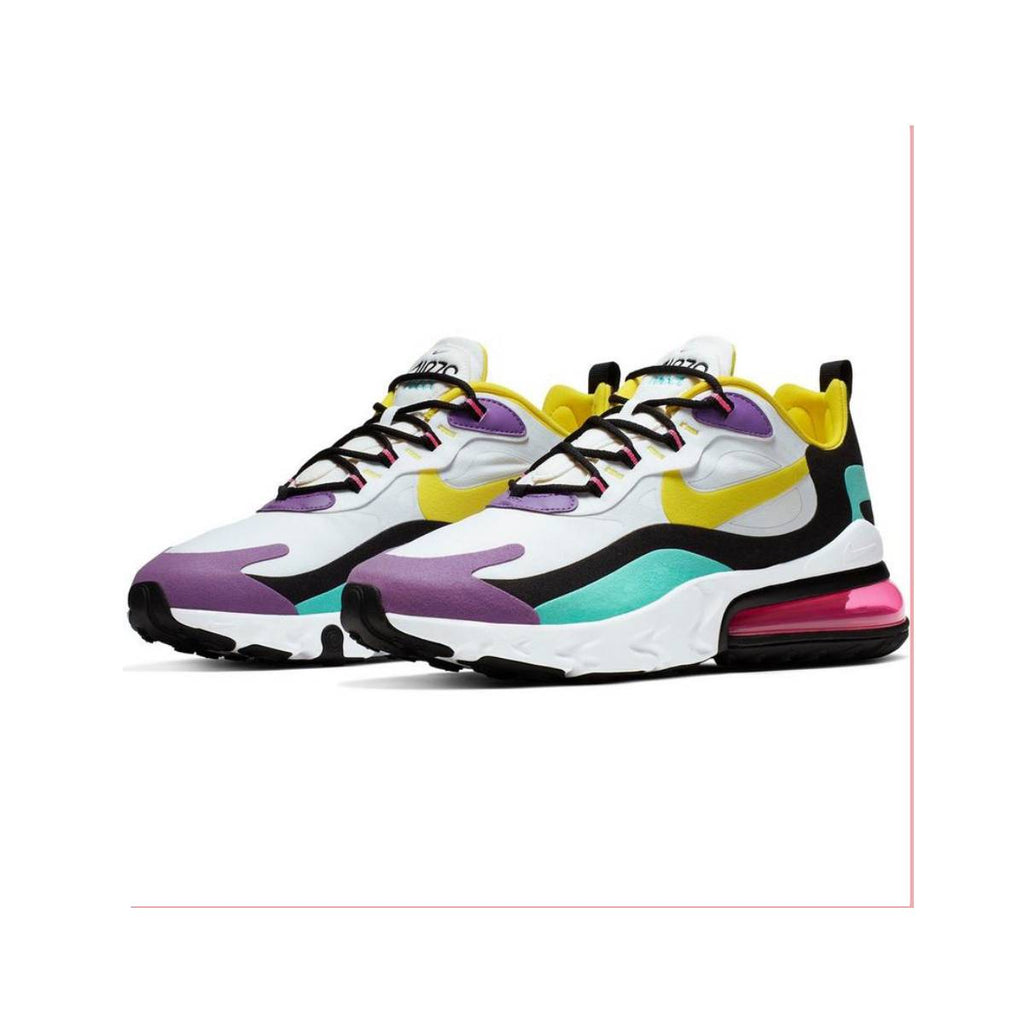 Nike Men's Air Max 270 React 'Geometric Abstract' White Yellow Bright Violet