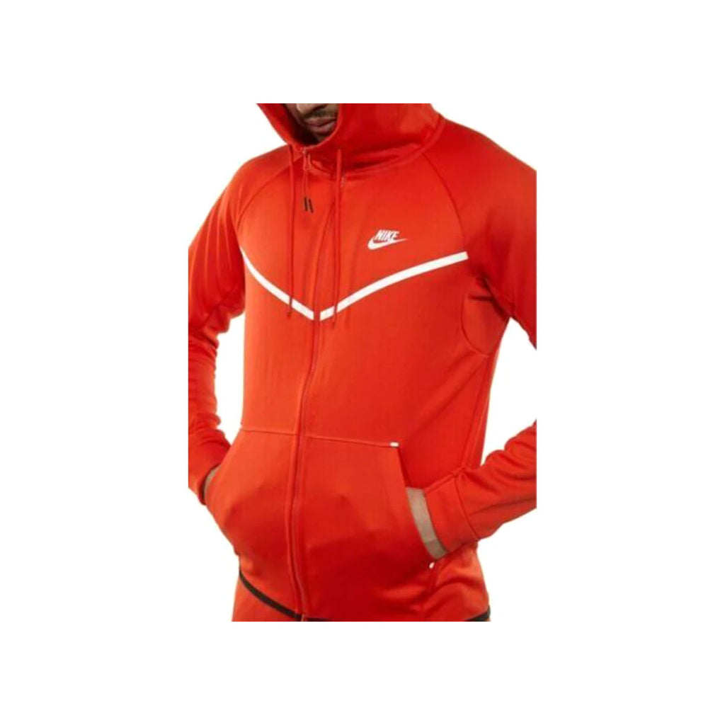 Nike Men's Sportswear Tech Icon Knit Windrunner Zip Up Hoodie Red White