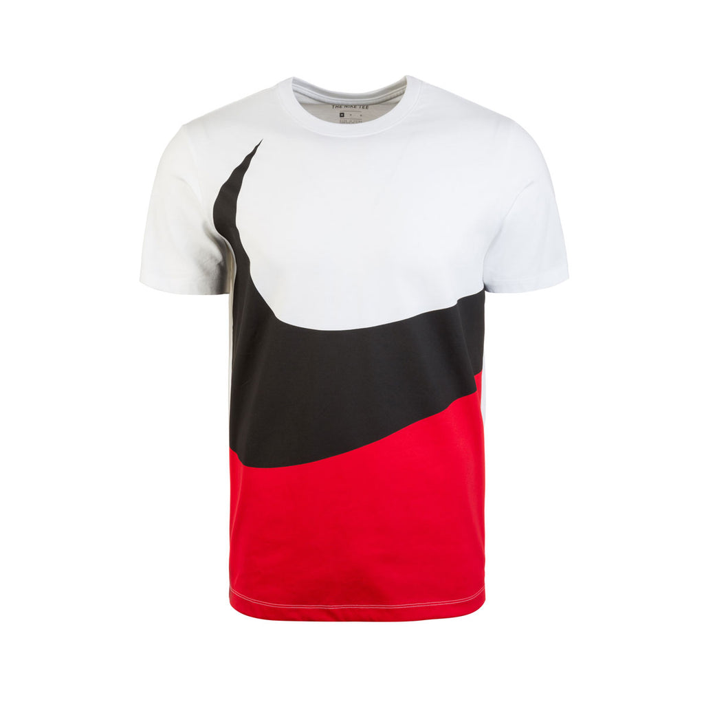 Nike Men's NSW HBR Futura Big Swoosh Retro T-Shirt White Red Black
