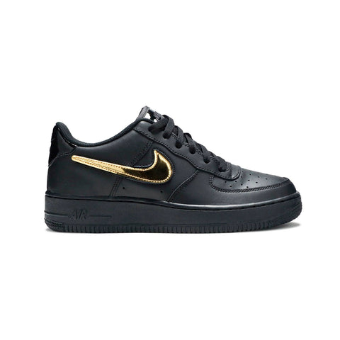 Nike Kid's Air Force 1 LV8 Gold Removable Swoosh Black Gold