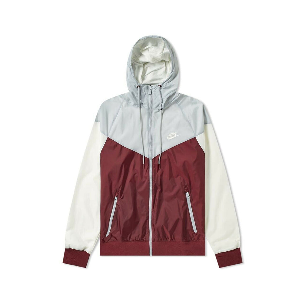 Nike Men's Sportswear Wind Runner Hooded WindBreaker Gray Maroon - KickzStore