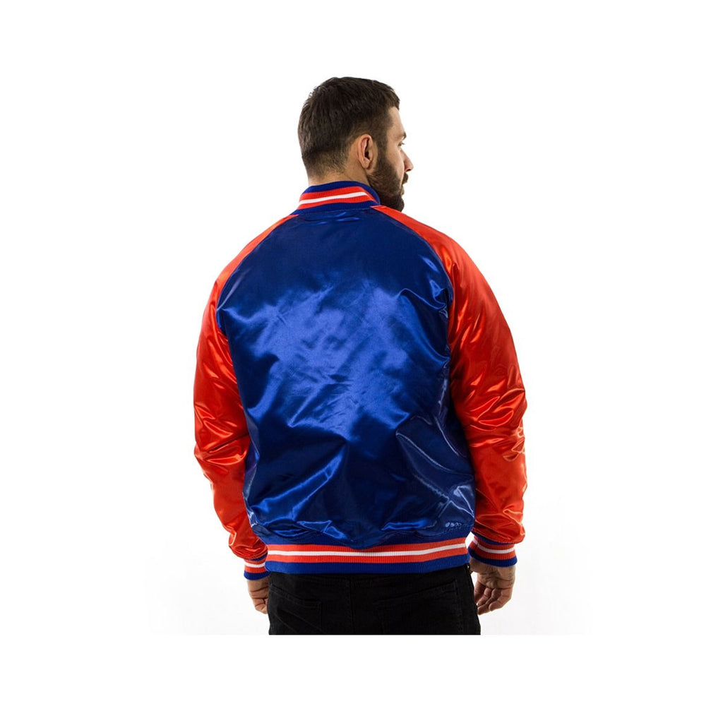 Mitchell & Ness Hardwood Classic NBA Satin New York Knicks Jacket Blue Orange - KickzStore