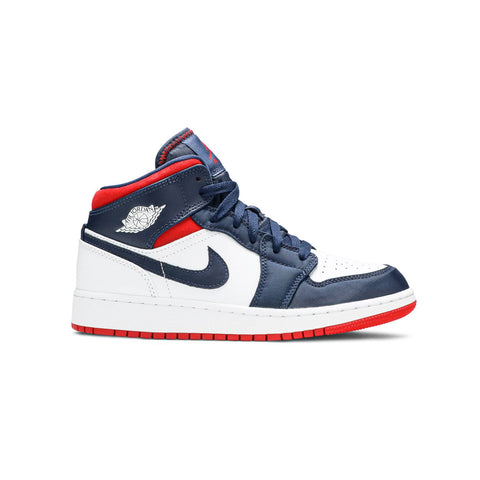 Air Jordan Kid's 1 Mid SE USA GS White Blue Red