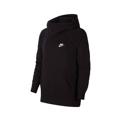 Nike Women's Essential Club Fleece Funnel Neck Hoodie Black