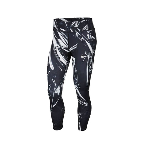 Nike Women's Epic Lux Flash Print Running Tights Black Silver