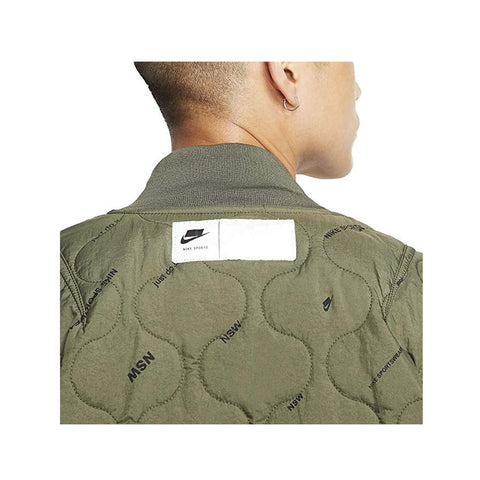 Nike Men's NSW Sportswear Cargo Khaki & Plaid Thermore Fill Bomber Jacket
